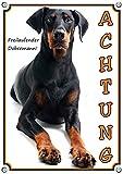 Hundeschild Dobermann - ACHTUNG! Warnschild Türschild aus Metall, DIN A5