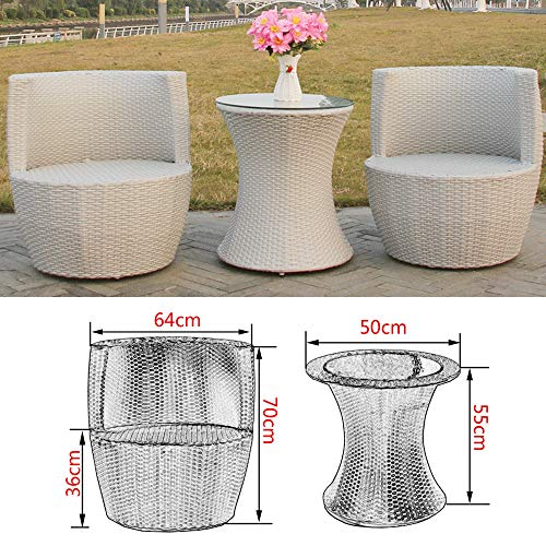 VBARV Terrace rattan table and chair furniture combination, outdoor patio chair with 4 upholstered chairs and coffee…