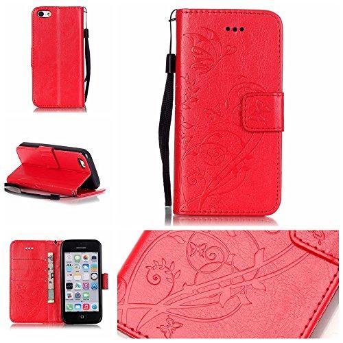 iPhone Case Cover Folio flip Case Stand, Case Wallet avec Cash et fente pour carte haut de gamme PU Housse en silicone en cuir pour iPhone5C ( Color : Blue , Size : IPhone 5C ) Red