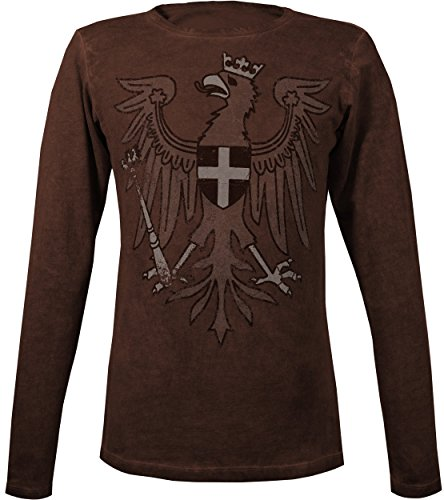 Musterbrand-The-Witcher-Langarm-T-Shirt-Herren-Redanian-Eagle-Geralt-Outfit-Braun