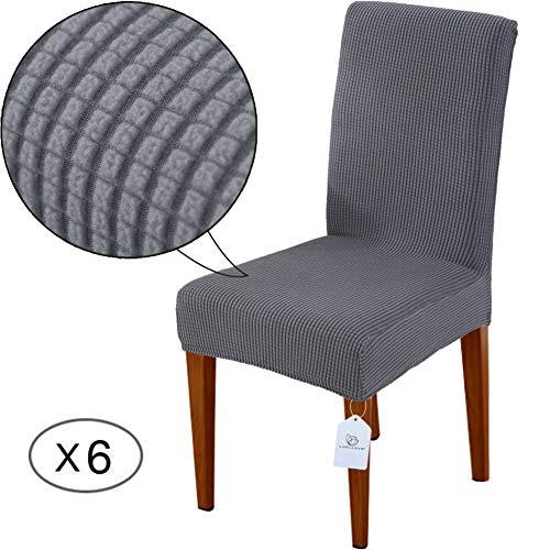 LUOLLOVE Stuhlhussen, Stretch Abnehmbare Waschbar Stuhlbezug für Esszimmerstühle,Stretch Stuhl Mit Gummiband für Esszimmer,Hotel,Bankett(6 Stück,Grau) - 9 Stück Esszimmer