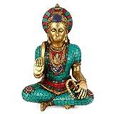 craftvatika Große Türkis Hanuman Statue–Gottheit Hindu Gott der Messing Skulptur–handgeschnitzt Hanuman Idol