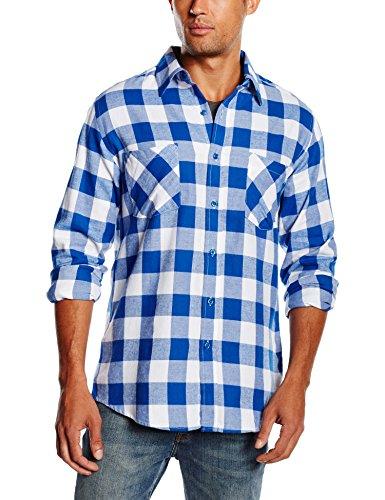 Urban Classics TB297 Herren Regular Fit Freizeit Hemd Checked Flanell Shirt, White/Royal, S, TB297 (Männer-hemd Royal Blau)