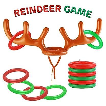 THE TWIDDLERS Juego de Reno Inflable – Aros Extra, Set de Juegos en Familia, Fiestas de Navidad – Regalos Sorptesa.
