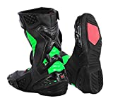 Nextek New Design - Genuine Leather Motorbike Boots Armoured Motorcycle Long Ankle Protection Boot Shoes Anti Slip Racing Sports | Green & Black, UK 12/EU 46