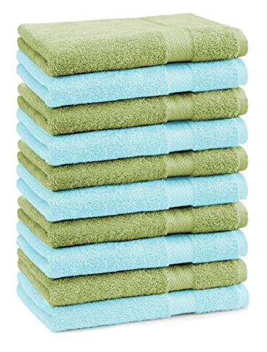 BETZ lot de 10 serviettes débarbouillettes taille 30x30 cm 100% coton Premium couleur vert pomme et turquoise