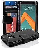 Cadorabo Hülle für HTC 10 (One M10) - Hülle in Oxid SCHWARZ – Handyhülle mit 3 Kartenfächern - Case Cover Schutzhülle Etui Tasche Book Klapp Style