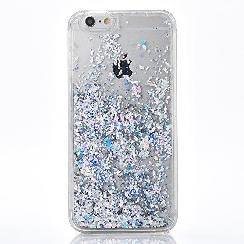 """iPhone 6sPlus Hülle, [Kristallklar Durchsichtig] Handytasche CLTPY iPhone 6Plus Glanz Sparkle Diamant Sternherz Muster Dynamisch Liquid Hardcase für 5.5"""" Apple iPhone 6Plus/6sPlus (Nicht iPhone 6/6s)  Silber"""
