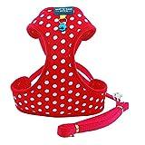 B-JOY Pet Geschirre Klassisch Ultra-Soft Hundegeschirr Hundehalsband Haustierkabelstrang mit niedlichen Glocke (Dots Red, S)