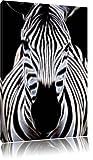 Dark Zebra Porträt Deluxe Format: 80x60 cm auf Leinwand, XXL riesige Bilder fertig gerahmt mit Keilrahmen, Kunstdruck auf Wandbild mit Rahmen, günstiger als Gemälde oder Ölbild, kein Poster oder Plakat