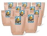 25 kleine braune Bayern-Tüten Geschenktüten Papier-Tüten Beutel mit Boden 14 x 22 x 5,6 cm mit Sticker Banderole SCHÖN DASS DU DA BIST im bayerischen Stil in blau weiß kariert bayerisch Oktoberfest