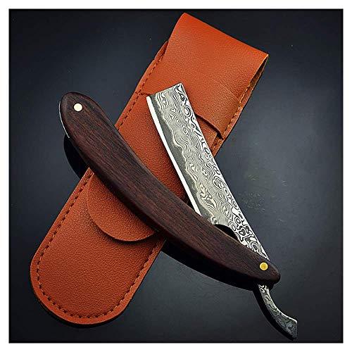 LJHLJH maquinilla de Afeitar Recta Damasco patrón de Acero Palo de Rosa Mango Vintage raspado Cuchillo de Corte de Afeitar maquinilla de Afeitar Producto de Regalo Conjunto de 3