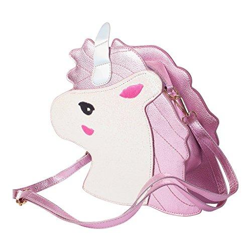 ODN Einhorn Schminkbeutel Kosmetik-TaschSüße Einhorn Schulter-Beutel Handtasche für Mädchen und Damen Umhängetasche Outdoor Einkaufstasche (Rosa)