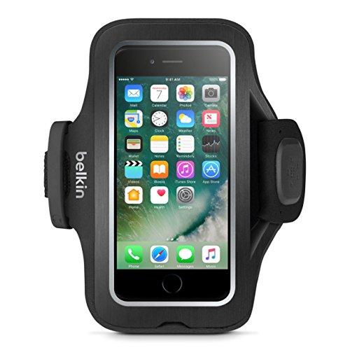"""Belkin - Fascia da Braccio """"Sport-Fit Pro"""" in Neoprene Elastico per iPhone 7 con Bande Riflettenti per la Visibilità Notturna, Nero"""