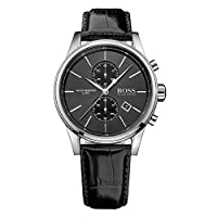 Hugo Boss Men's Chronograph Quartz Watch With Leather Strap – 1513279, Black Band