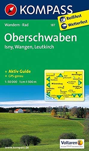 KOMPASS Wanderkarte Oberschwaben - Isny - Wangen - Leutkirch: Wanderkarte mit Aktiv Guide und Radrouten. GPS-genau. 1:50000: Wandelkaart 1:50 000 (KOMPASS-Wanderkarten, Band 187)