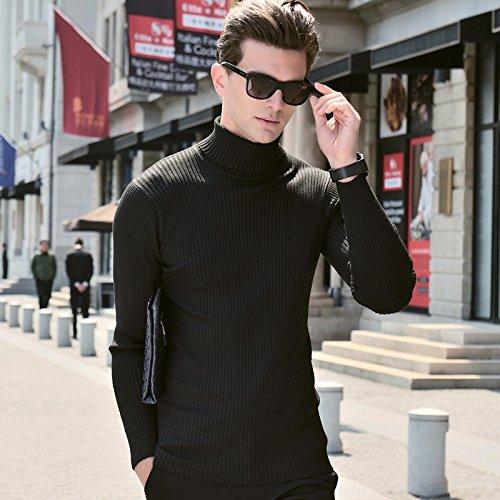 BOMOVO Herren Rollkragen Strickpullover Pullover Sweatshirt Slim Fit Schwarz