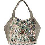 Anokhi Damen Shopper Big Ebony, Leather-Velvet Combi mit Stickerei, Abbey Stone