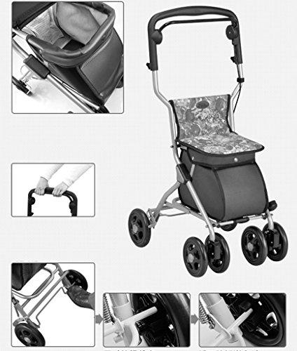 HJHY® ayudas para caminar, coche para mayores Rueda para cinturón con asiento Tráfico de ayuda Carro de compras plegable Altura de la carretilla ajustable en altura ( Color : #1 )