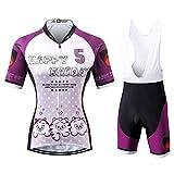 Thriller Rider Sports Donna Happy Every Day Sport e Tempo Libero Abbigliamento Ciclismo Magliette Manica Corta e Pantaloncini Cinturino Combinazione Large