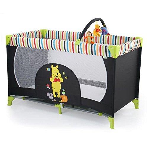 Hauck Kinderreisebett Dream N Play Go Disney, inklusive Rollen, Matratze und Transporttasche, 120 x 60 cm, ab Geburt, tragbar und faltbar, schwarz, grün (Pooh Tidy Time)