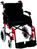 "Drive DeVilbiss Healthcare Enigma XS Aluminium Transit Wheelchair with 20"" Seat Width in Red"