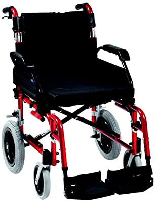 """Drive DeVilbiss Healthcare Enigma XS Aluminium Transit Wheelchair with 20"""" Seat Width in Red"""