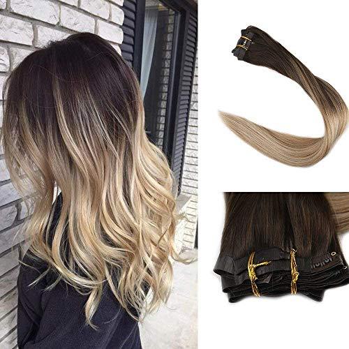 Full Shine 16 Zoll 8Pcs 100Gramm Ombre Farbe # 2 Dunkle Wurzeln Fading zu # 8 und # 613 Blonde Hervorgehoben Balayage Nahtlose Clip in Haarverlängerungen Remy Human Hair Extensions (Blond-haar-verlängerung Ombre Dunkel)