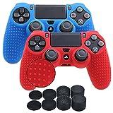 YoRHa Borchie Cassa pelle copertura silicone skin cover per Sony PS4/Slim/Pro Controller x 2 (rosso + blu) Con PRO presa del pollice thumb grips x 8