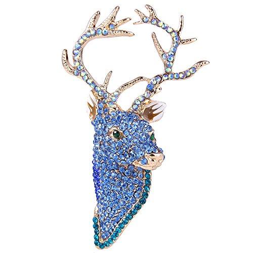 Ever Faith Broches Finas Mujer Serie de Animal - Ciervo Lindo Cristal para Regalo Boda Fiesta Azul