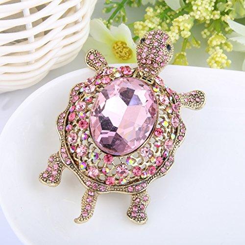EVER FAITH® Broche Petite Tortue Ovale Mignonne Exquise Cristal Autrichien Rose