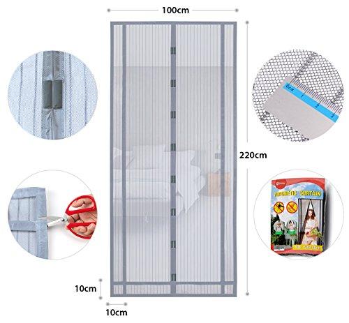 Sekey Magnetvorhang zum Insektenschutz, idealer magnetischer Fliegengitter für Balkontür, Kellertür, Terrassentür (zuschneidbar in Höhe und Breite) durch kinderleichte Klebemontage, grau, 220x100cm