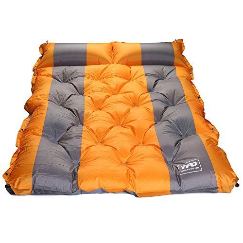 TFO double autogonflant Matelas de camping étanche Pad de sommeil avec Attached gonflable Pillow-compact et de l'humidité Proof pour la randonnée, randonnée, voyages, orange/gris