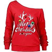 LEvifun Frauen Gedruckt Pullover Brief Fröhliche Weihnachten Christmas Schräghals Langarm Sweatshirt Tops Bluse Shirt Oberteile Jumper Streewear
