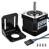 Schrittmotor, Quimat Nema 17 Schrittmotor Bipolar 2A 64oz.in (0.45Nm) 38mm Körper 4-Blei mit 1m Kabel & Stecker und Montage Halterung für 3D Drucker Printer Hobby CNC