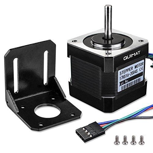 Schrittmotor, Quimat Nema 17 Schrittmotor Bipolar 2A 64oz.in (0.45Nm) 38mm Körper 4-Blei mit 1m Kabel & Stecker und Montage Halterung für 3D Drucker Printer Hobby CNC Test