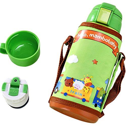 Preisvergleich Produktbild GudeHome Baby Edelstahl Isolier-Flasche Thermosflasche Vakuum Becher mit Tragbaren Tasche, Grün