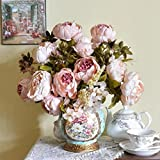 Longra Wohnaccessoires & Deko Kunstblumen 1Bouquet 8 Köpfe künstliche Pfingstrose Seide Blume Blatt Home Hochzeit Party Dekoration Fake Blume (Pink)