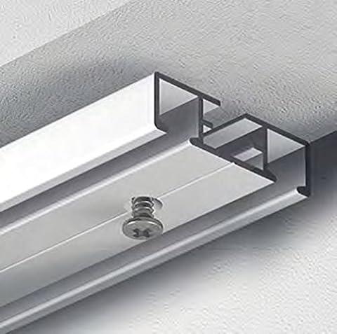 Dekoline hochwertige Gardinenleiste, Vorhangschiene für Rollwagen, Gardinenschiene, Flächenvorhangschiene, vorgebohrt, grau, 2-Lauf - 1,20 m