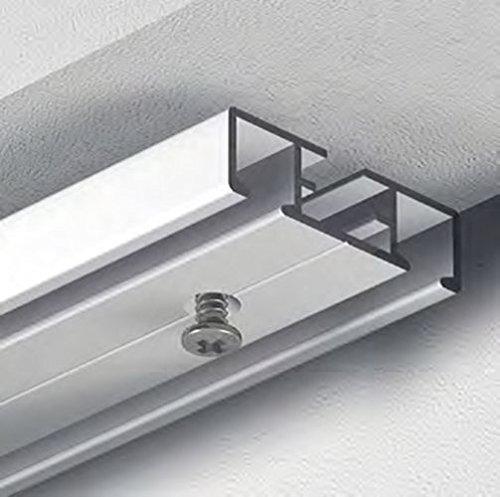 dekoline Flächenvorhangschiene, Vorhangschiene für Schiebevorhang und Gardinen, Gardinenschiene, vorgebohrt, Weiß, 2-Lauf - 1,40 m