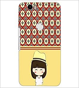 PrintDhaba Cute Girl D-2778 Back Case Cover for HUAWEI NEXUS 6P (Multi-Coloured)