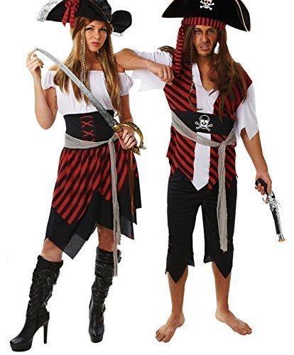 Damen & Herren passend Paar Pirat Halloween Kostüm Verkleidung Outfit - Rot/schwarz, Rot/schwarz, Ladies UK 12-14 & Mens STD