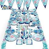 Himeland 90x Gebutstag Party Set(Meerjungfrau), Das knallbunte Party Set für Eine Geburtstagsfeier, Cupcake und Cake Toppers Tischdecke Partytüten Einladungskarten für Kindergeburtstag, Baby Shower