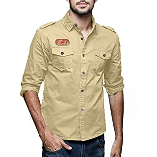 Anglewolf Mens Autumn Winter Casual Military Cargo Slim Button Long Sleeve Dress Top Blouse Men's Style Tactical Work Button-Down Stays Plus Size Shirts Air Army Combat Sport Shirt(Khaki,M)