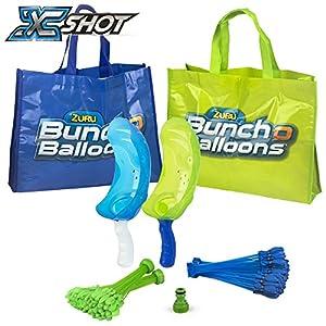 X-Shot - Bunch O Balloons Set globos 2 lanzadores 1 boquilla y 4 manojos x 35 globos (42719)