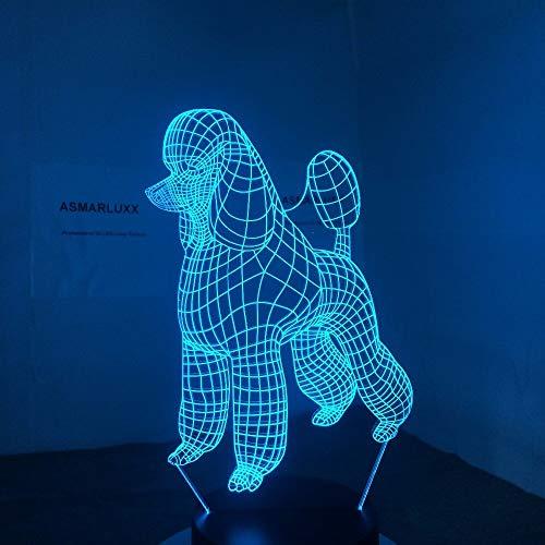 Nettes Nachtlicht des Lichtes 7 des Pudelhundes 3d LED für Kinder berühren LED Usb-Uhr Lmpr Lmpe Babyschlafdekorations-Nachtlicht -