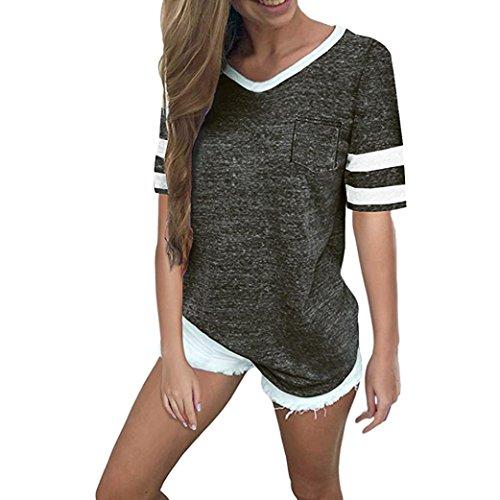 SANFASHION Femme Losse Été Manches Courtes 2 Rayures Chic Sweatshirt Sweat-Shirt Ados Fille Uni (Beaucoup de Couleurs) (Small, Noir col v Chic)