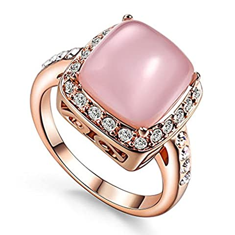 Yoursfs 18ct Rose Gold Plated Vintage Engagement Halo Rings for Ladies Statement Opal Ring with Pink Stone Fashion Jewellery