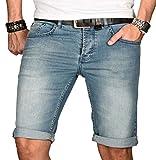 A. Salvarini Herren Designer Jeans Short Kurze Hose Slim Sommer Shorts Bermuda [AS-105-W33]