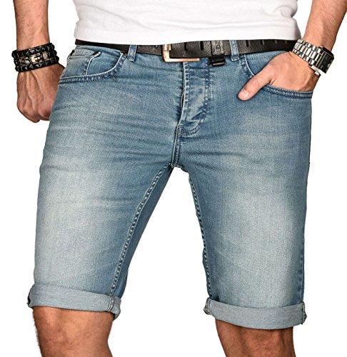 A. Salvarini Herren Designer Jeans Short Kurze Hose Slim Sommer Shorts Bermuda [AS-105-W29]
